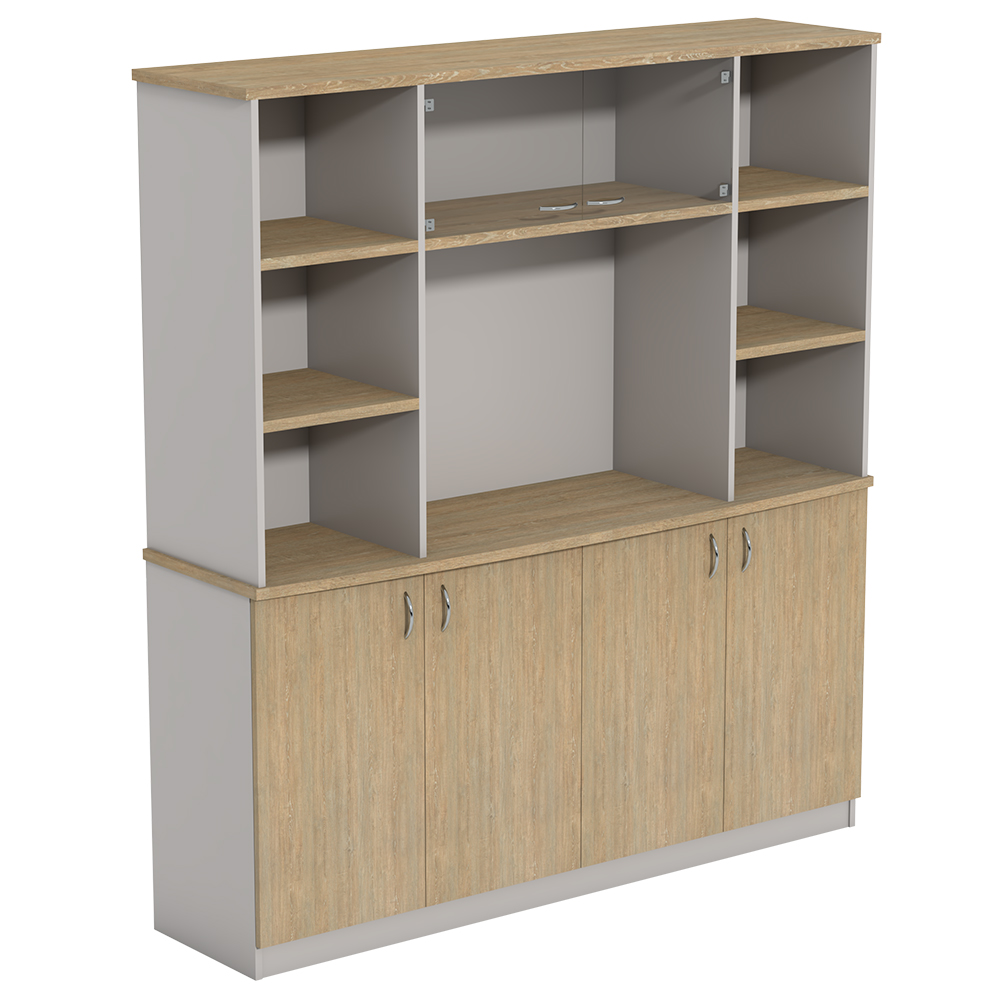 Ecotech Executive Overhead Bookcase On BF Crendenza No Doors With Glass Doors