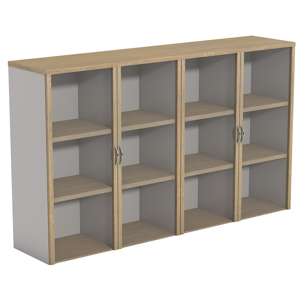 Ecotech Overhead Bookcases 4 Shelves Centre-Division With Hinged Glass Doors